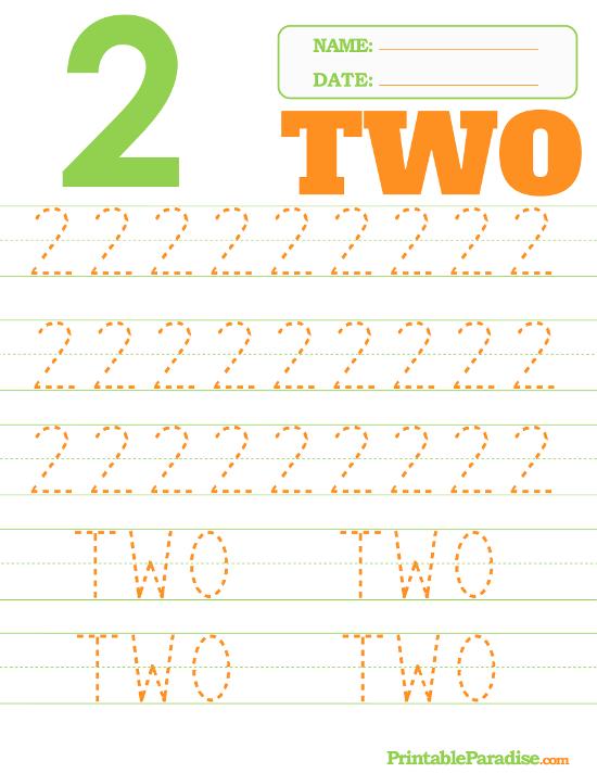 Number 2 Tracing Worksheet