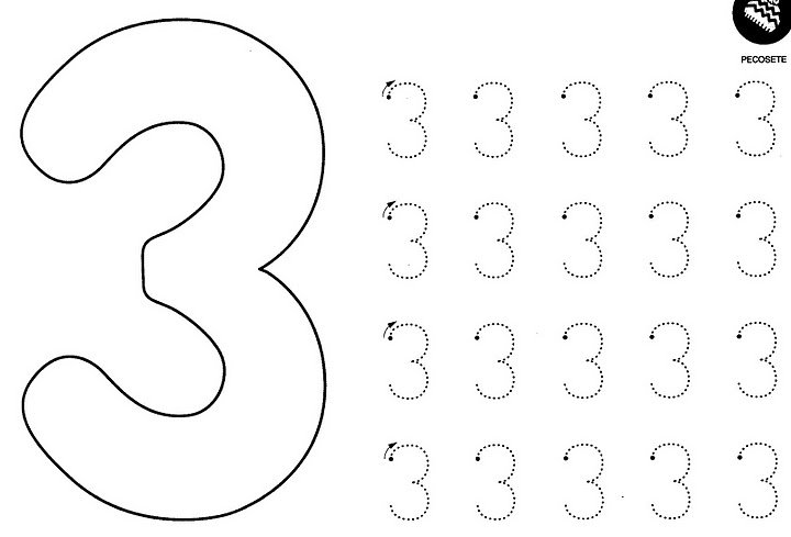 Number 3 Tracing Worksheets For Preschool Worksheets For All