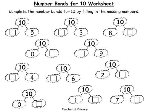 Number Bond Worksheets To 10