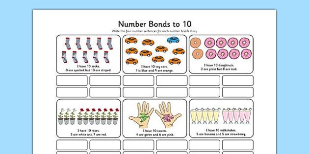 Number Bonds To 10 Stories Worksheet