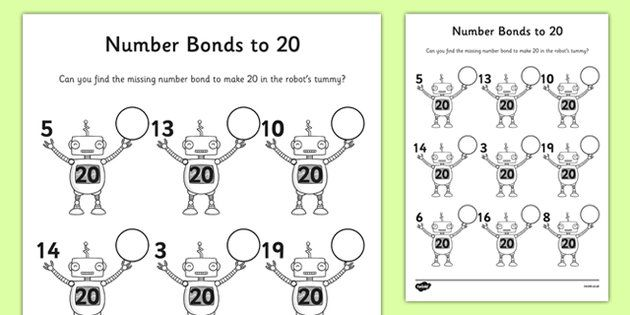 Number Bonds To 20 On Robots Worksheet