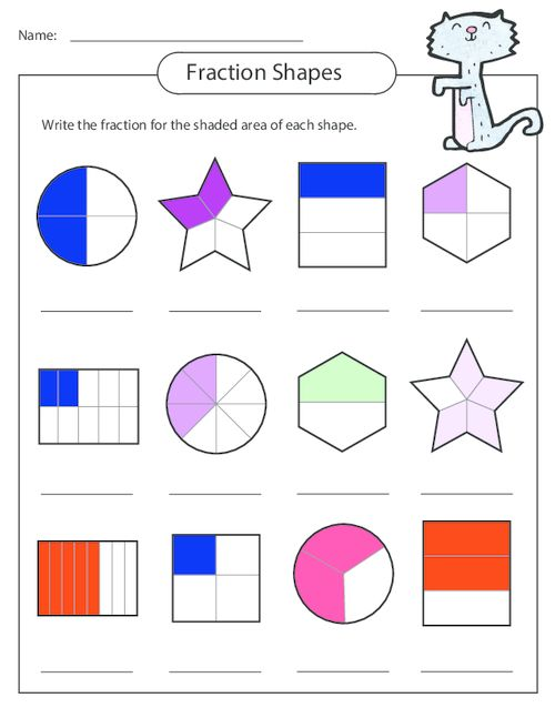 Number Names Worksheets » Fraction Shapes Printable