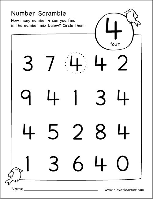 Number Scramble Activity Worksheet For Number 4 For Preschool Children