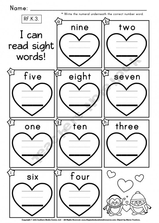 Number Words Worksheets For Preschool Worksheets For All