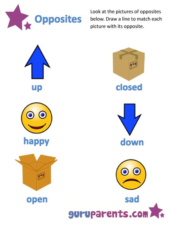 Opposites Worksheets Kindergarten Worksheets For All