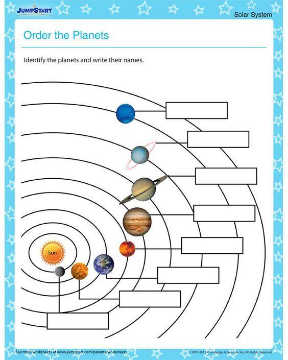 Order The Planets – Solar System Worksheets For Kids