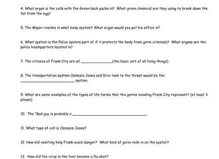Osmosis Jones Worksheet Answers Osmosis Jones Video Worksheet