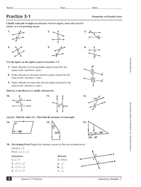 Parallel Lines Cut By A Transversal Worksheet 8th Grade Worksheets