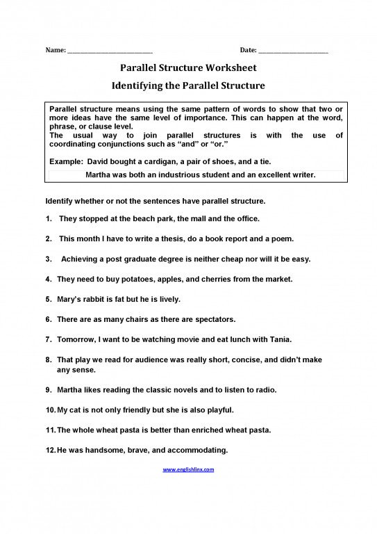 Parallel Structure Exercise 1 Answers Inspirational Englishlinx