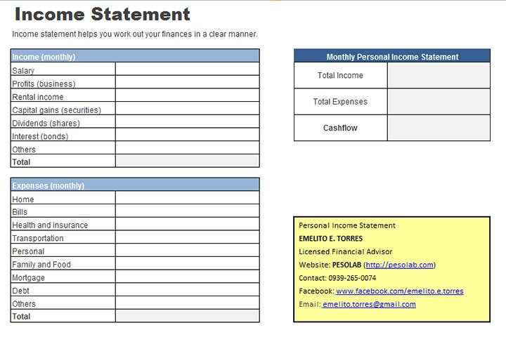 Personal Income Statement Worksheet