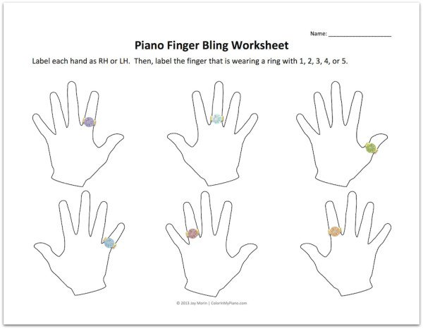 Piano Finger Bling Worksheet Png  Good For 1st Lesson Follow