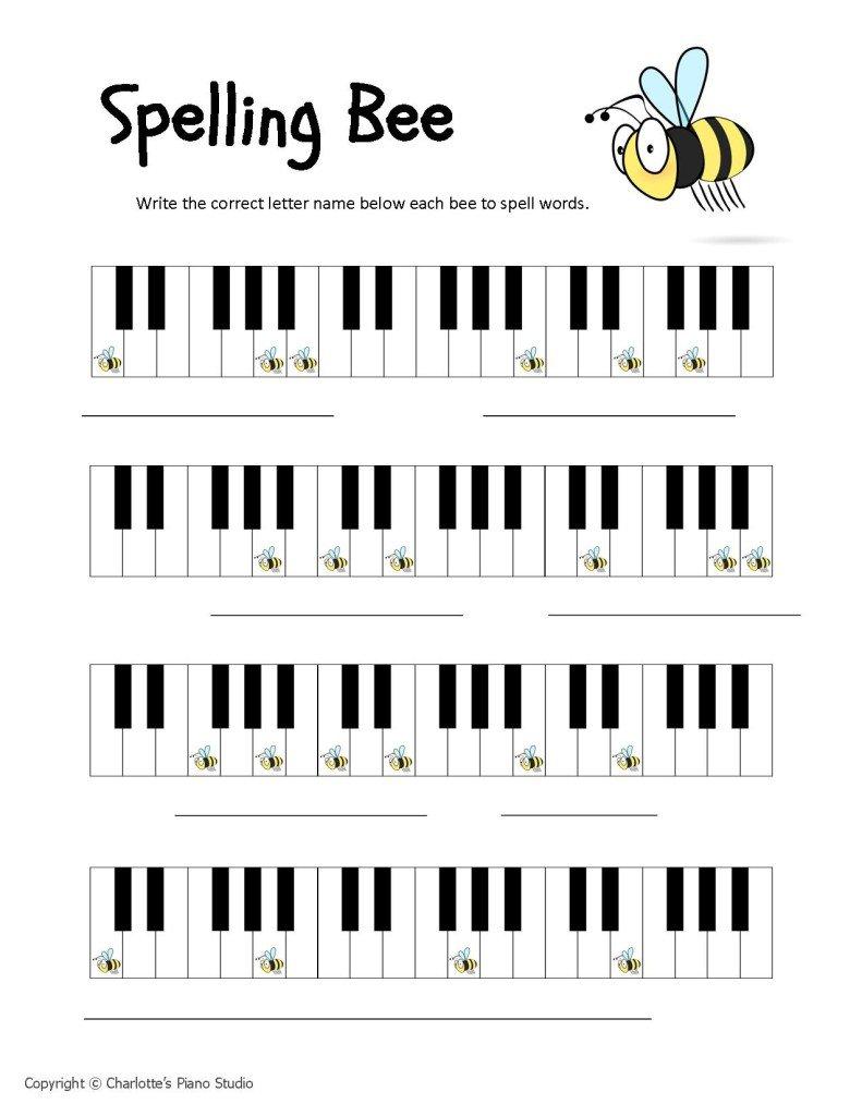 Piano Key Worksheets
