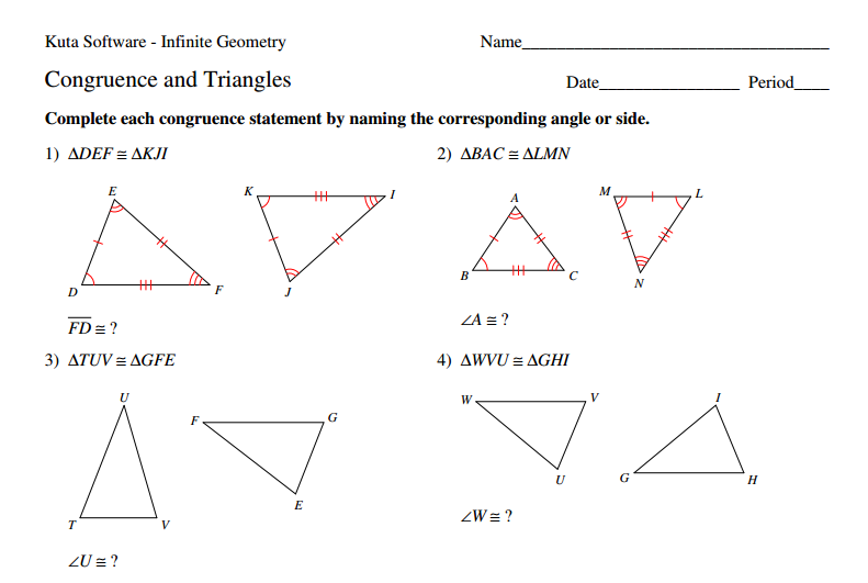 Pictures Geometry Worksheet Congruent Triangles