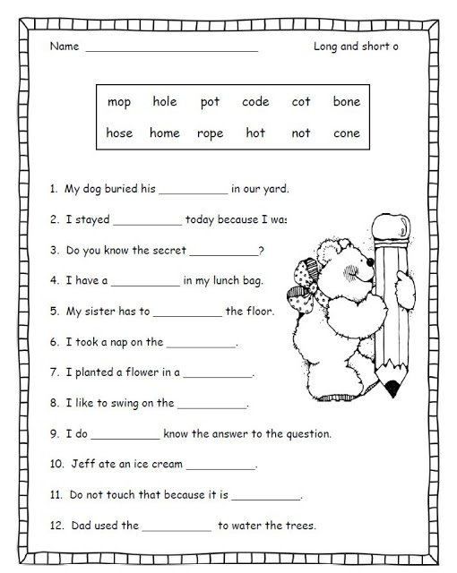 Pictures Long Vowel Worksheets Free