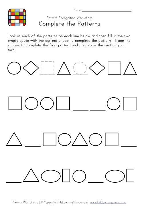Pictures Patterns Worksheet
