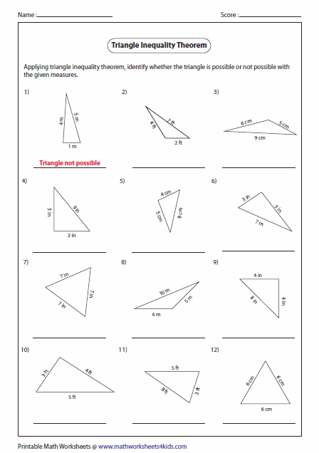 Pictures Triangle Inequality Worksheet