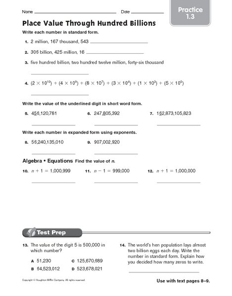 Place Value Through Millions Worksheets Worksheets For All