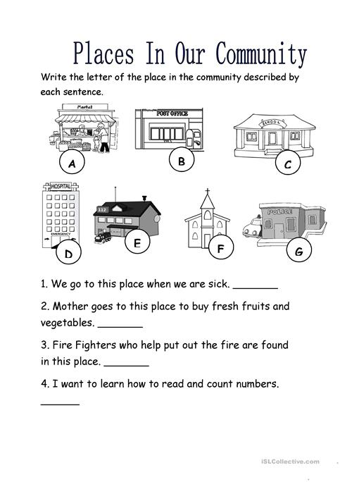 Places In Our Community Worksheet