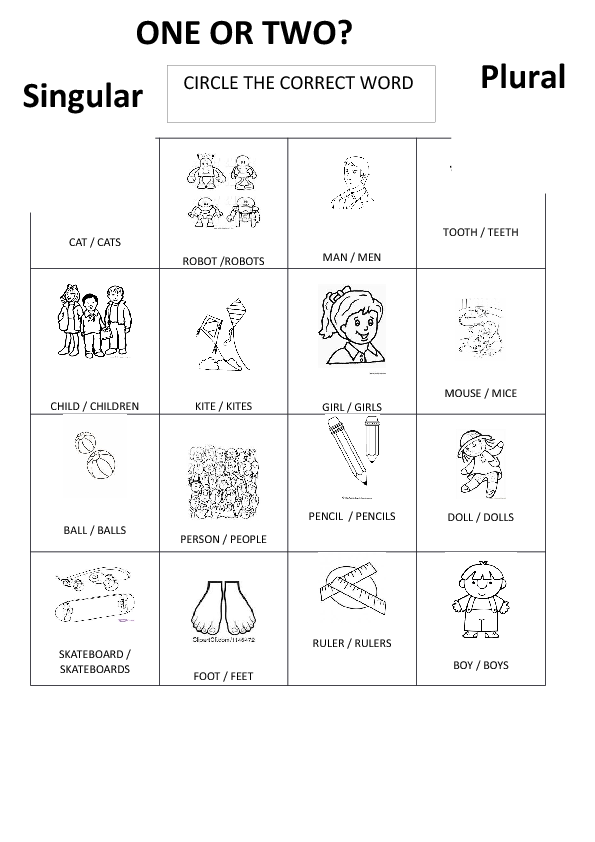 Plural Nouns Worksheet 1 Singular And Plural Nouns Worksheets For