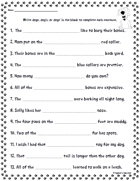 best Plural And Possessive Nouns Worksheets For Middle School image ...