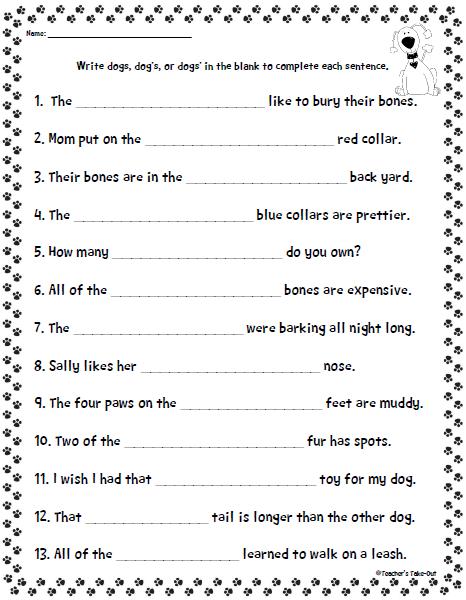 Singular Possessive Noun Worksheets Kidz Activities
