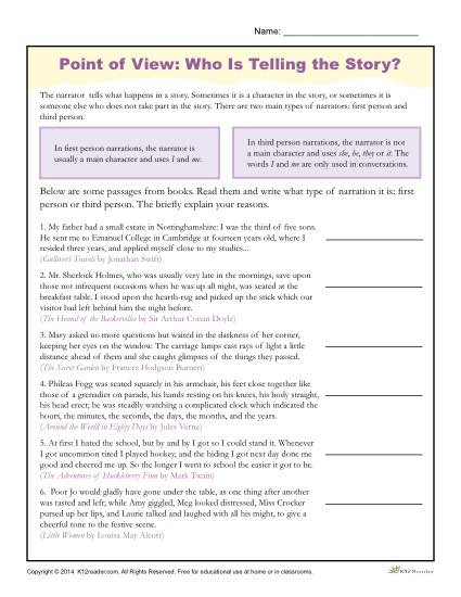 Point Of View Worksheets