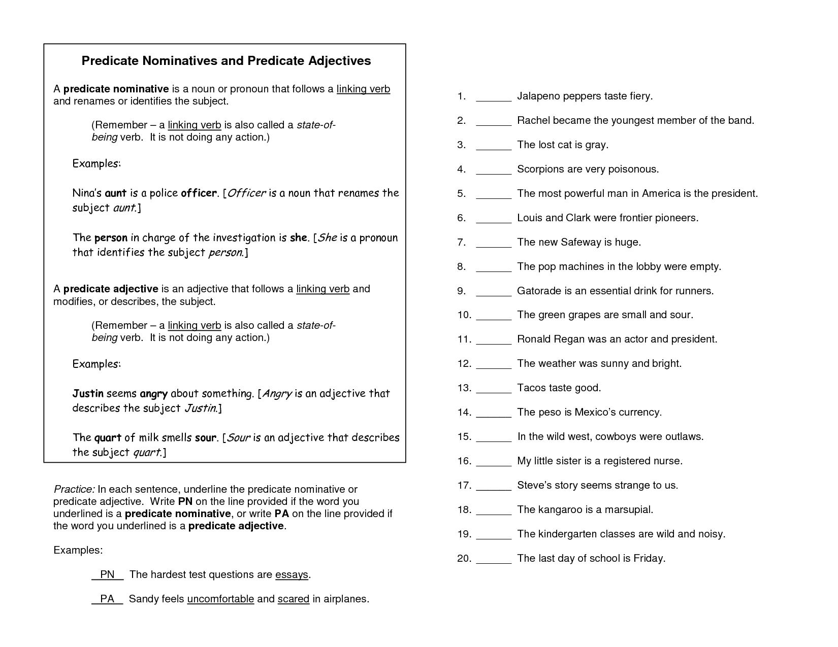 Predicate Adjective Worksheet