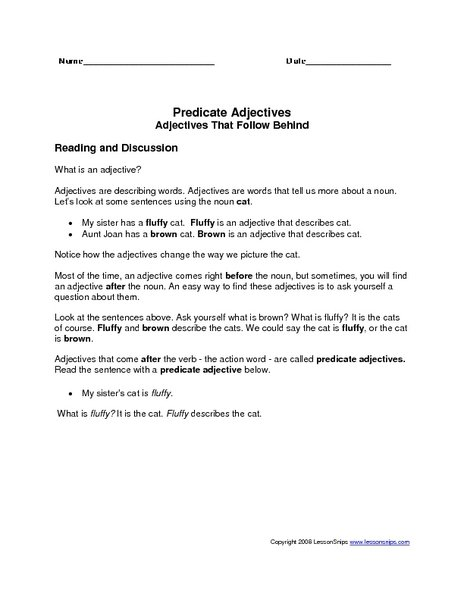 Predicate Nominative And Predicate Adjective Worksheet Worksheets