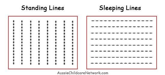 Prewriting Skills Standing Sleeping Lines Jpg