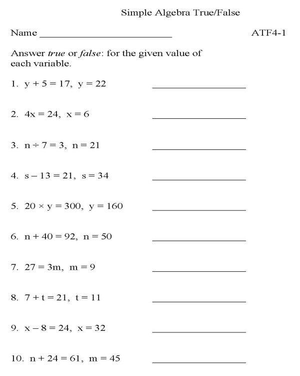 Printable Algebra Worksheet