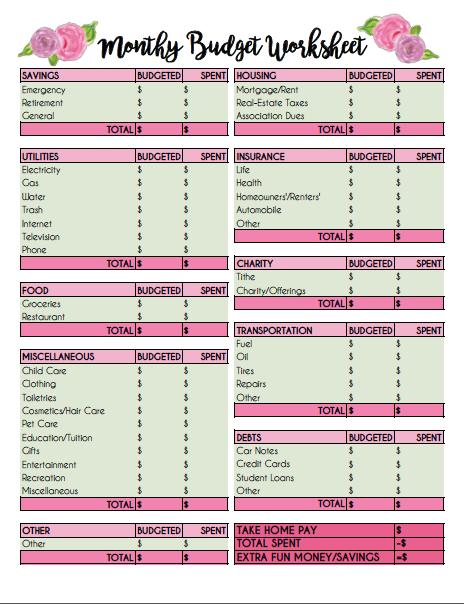Printable Monthly Budget Worksheet