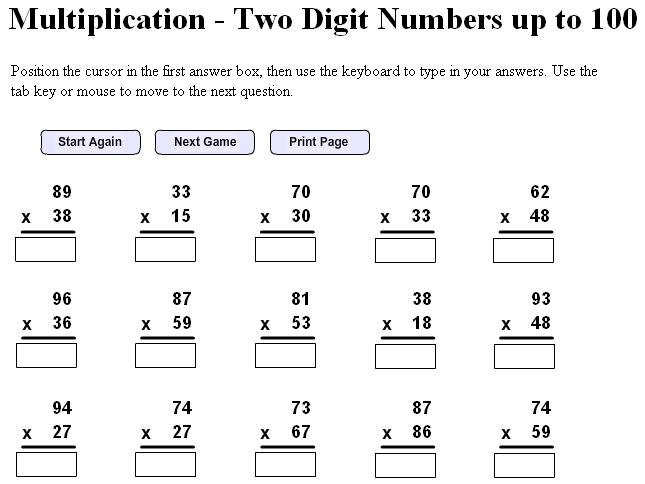 Printable Multiplication Worksheets 6th Grade