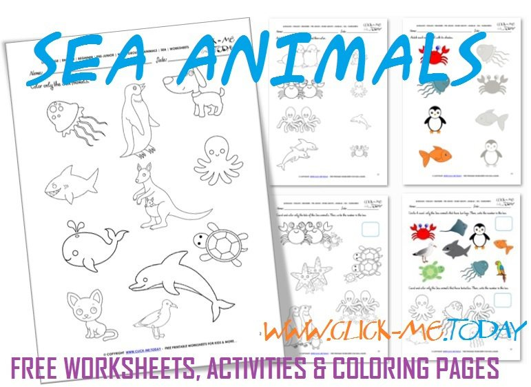 Printable Sea Animals Worksheets