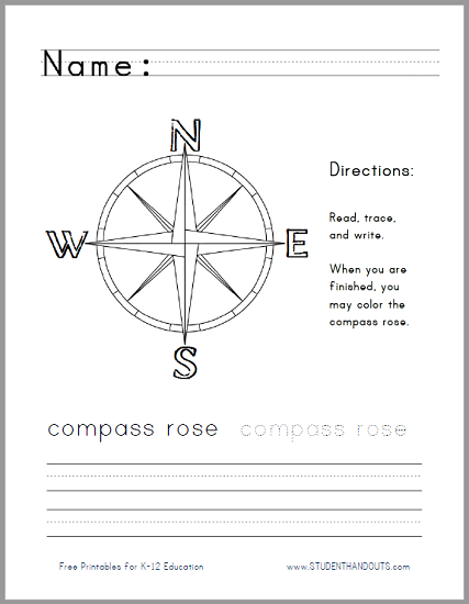 Printables  Compass Rose Worksheets  Messygracebook Thousands Of