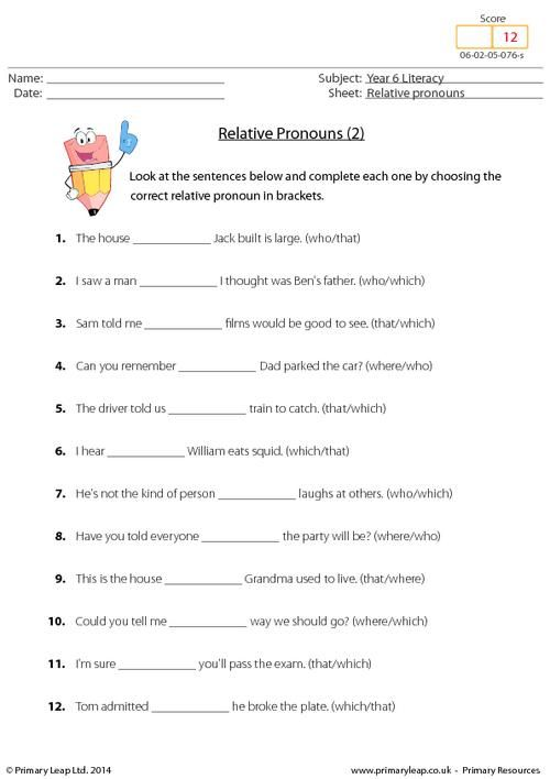 Printables  Relative Pronouns Worksheets 4th Grade  Clickmt