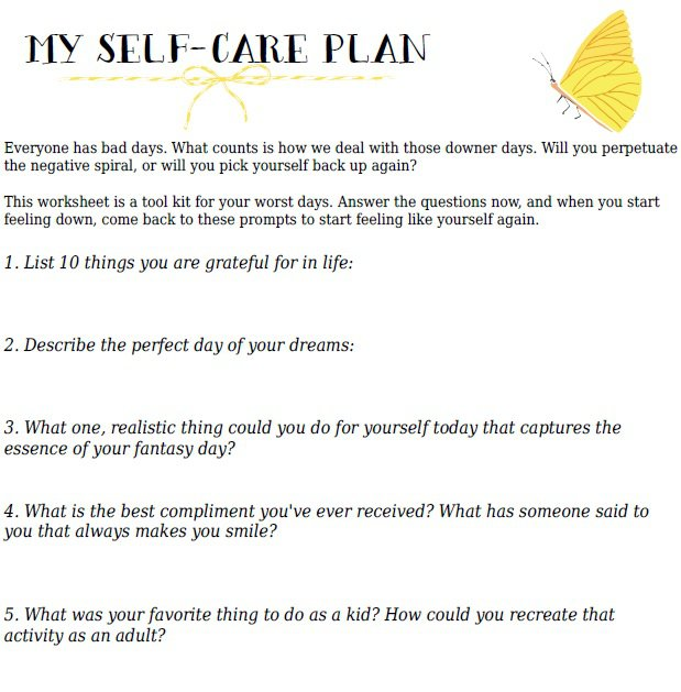Printables  Self Care Worksheets  Clickmt Thousands Of Printable