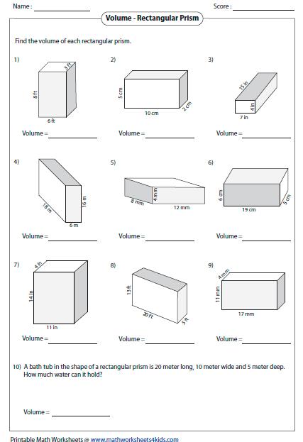 Printables  Volume Of A Prism Worksheet  Clickmt Thousands Of