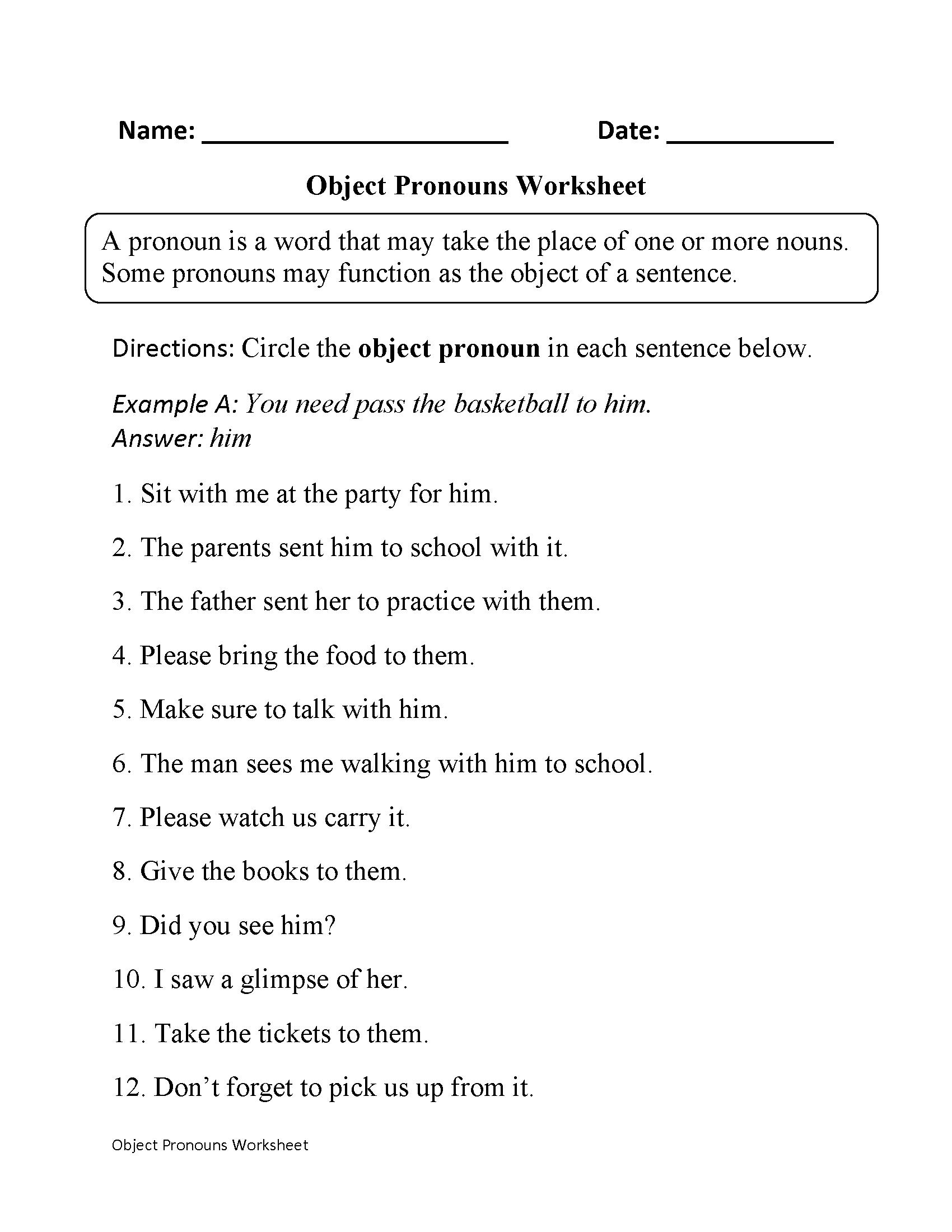 Pronoun Worksheets 6th Grade