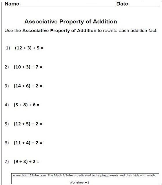 Properties Of Addition Worksheets, Associative, Commutative