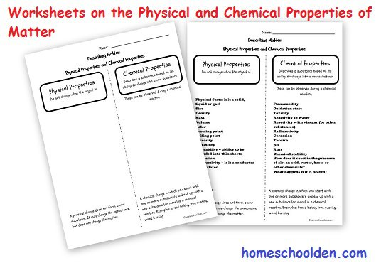 Properties Of Matter Worksheet Physical Properties Of Matter