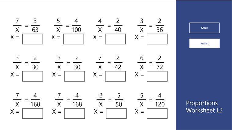 Proportions Worksheet L2