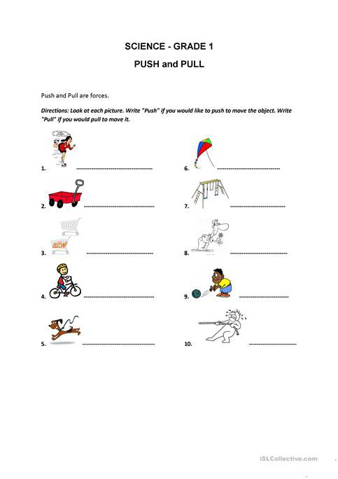 Push And Pull Worksheet