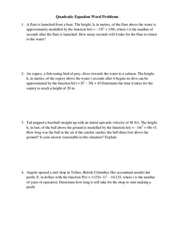 Quadratic Word Problems Worksheet Worksheets For All