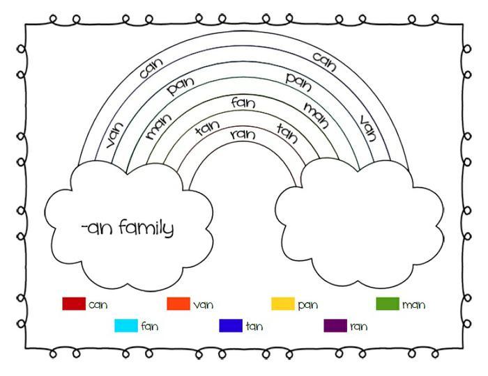 Rainbow Word Families Printable Worksheets