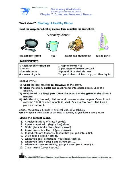 Recipe Reading Comprehension Worksheets Worksheets For All