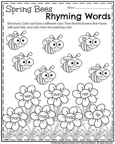 Rhyming Worksheets For Kindergarten Free