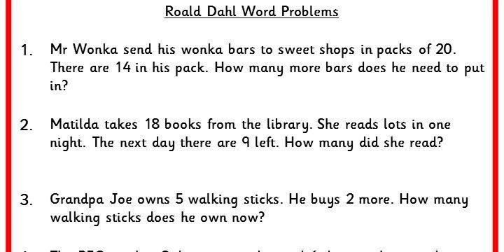Roald Dahl Word Problems