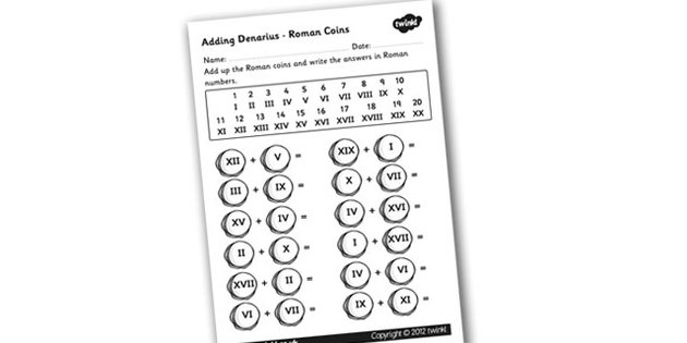 Roman Coins Addition Worksheet