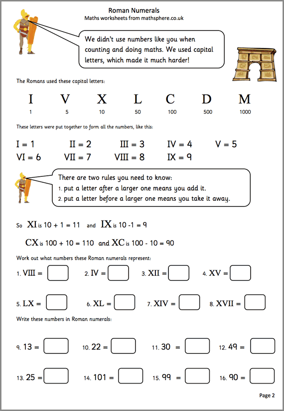 Roman Numeral Addition Worksheets Worksheets For All