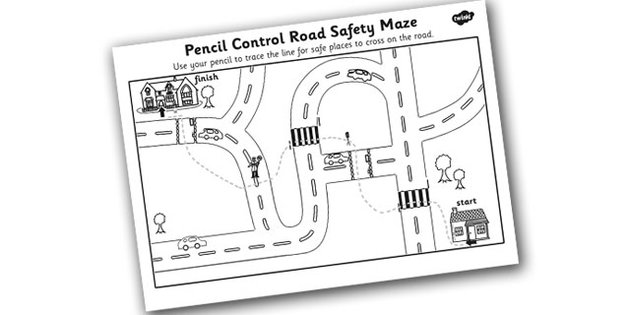 Safe Road Crossing Pencil Control Worksheet